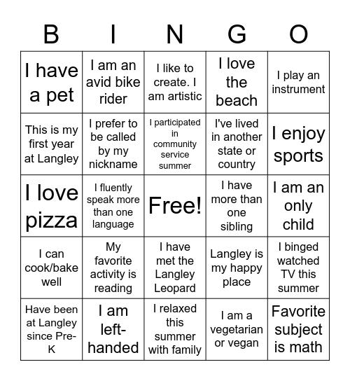 Bingo to Know You Bingo Card