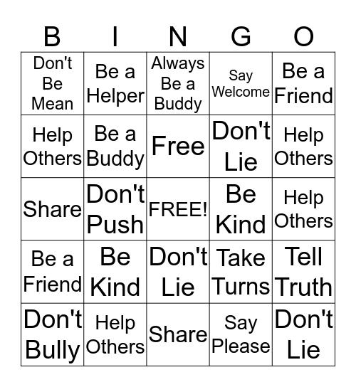 Bully Prevention Bingo Card