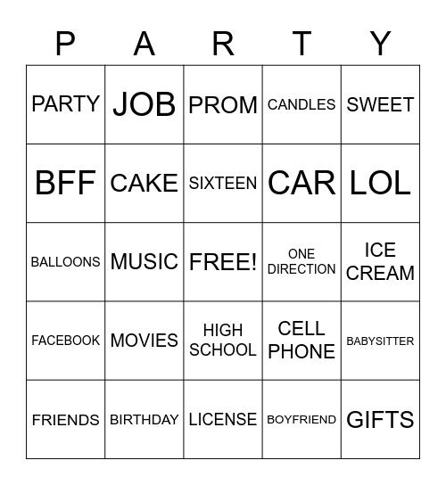 Sweet 16 Bingo Card