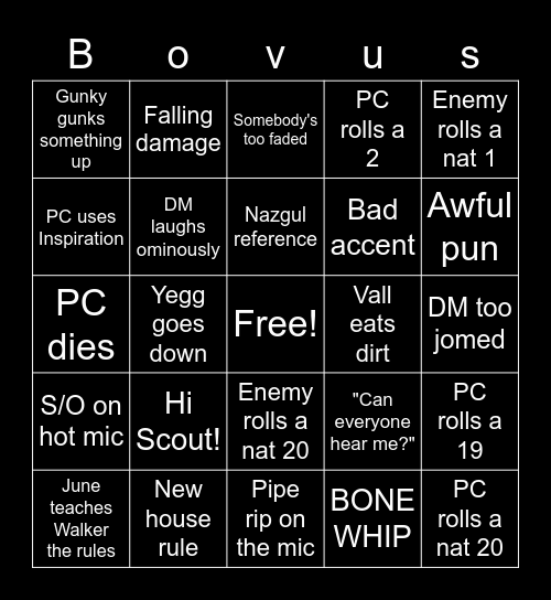 Showdown at Myth Drannor Bingo Card