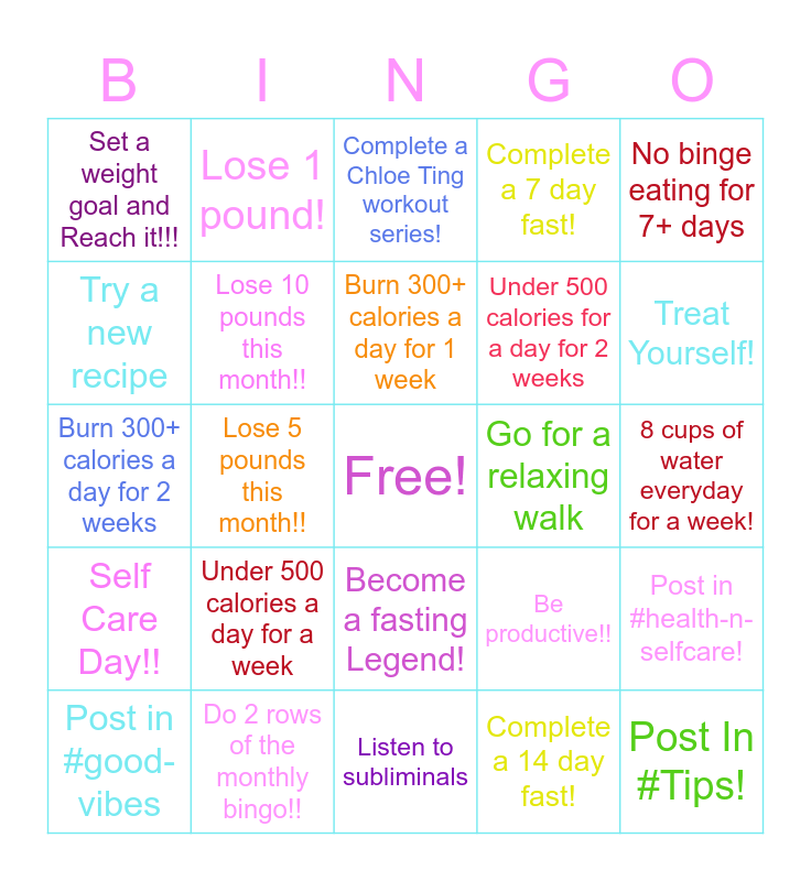 GGF Monthly Bingo!! Bingo Card