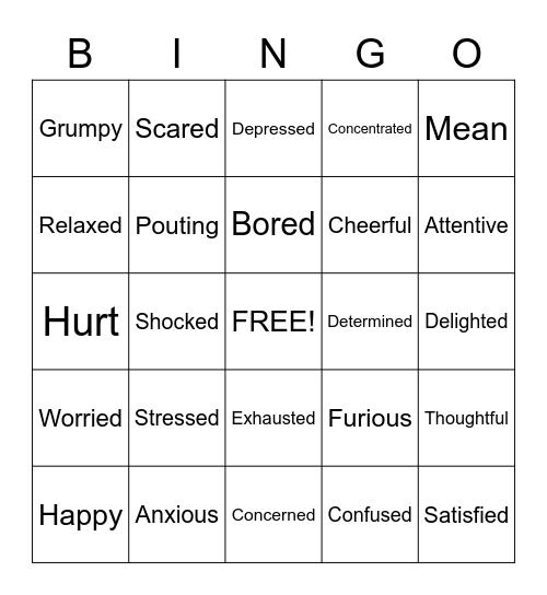 Feelings! Bingo Card