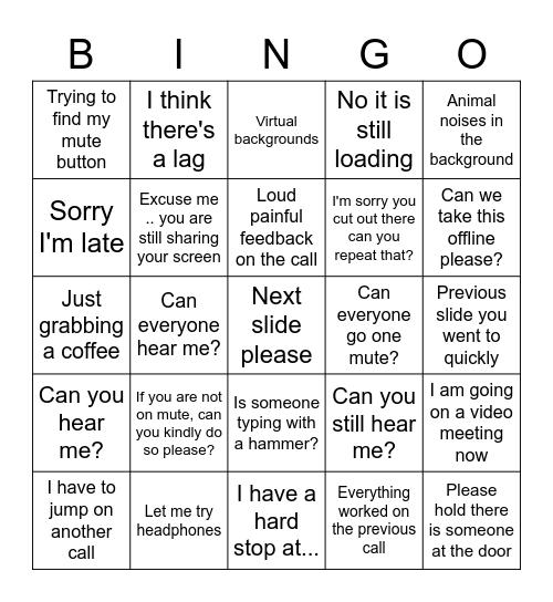 Virtual Meetings - RD Bingo Card