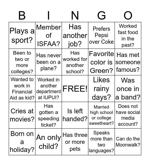 Processing/Systems Area Bingo Card
