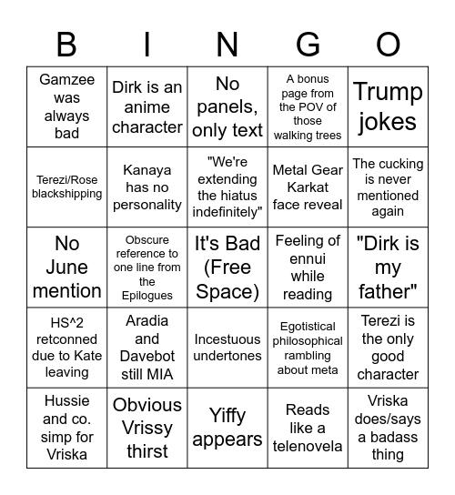 Homestuck^2: August is Suffering Bingo Card