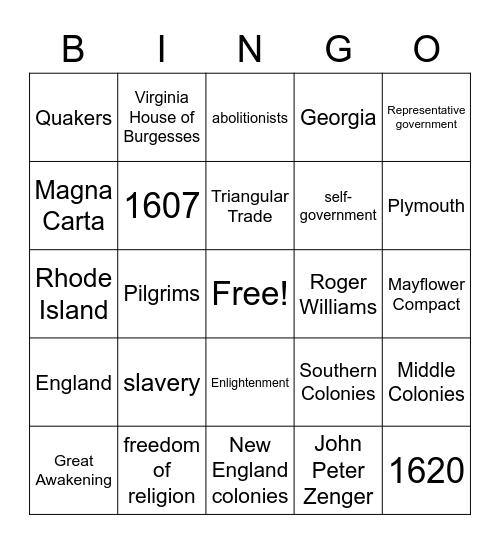 Colonial Era Bingo Card