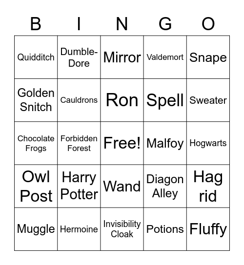 Harry Potter and the Sorcerer's Stone Bingo Card
