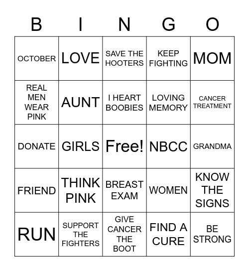 Breast Cancer Bingo Card