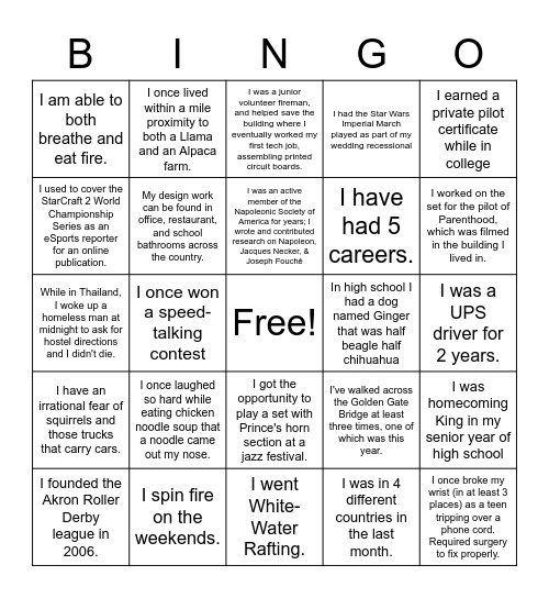 Trivia Bingo Card