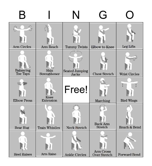 Chair Exercise Bingo Card