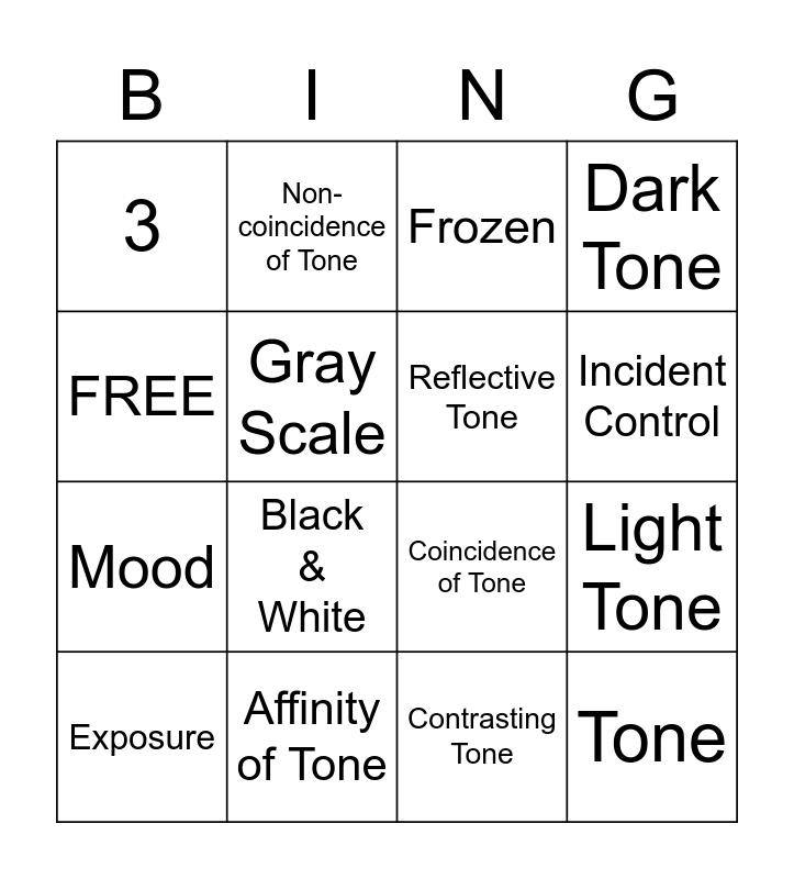 Tone Bingo Card