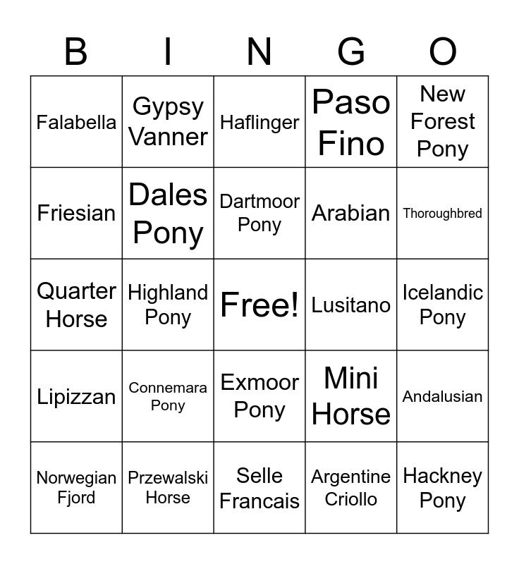 Horse and Pony Breeds Bingo Card