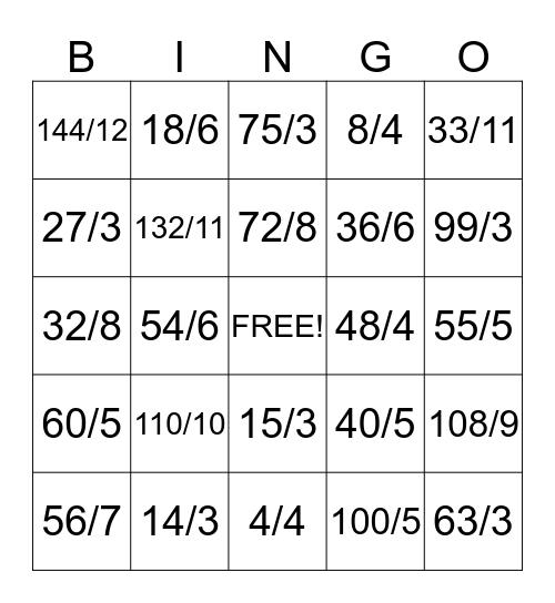 Division Bingo Card