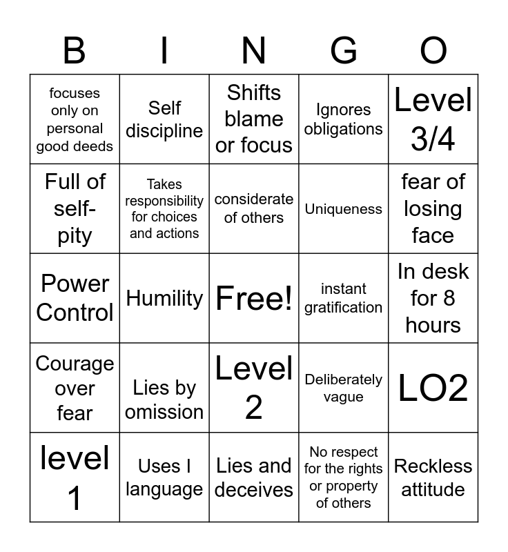 Tactics & Barriers Bingo Card