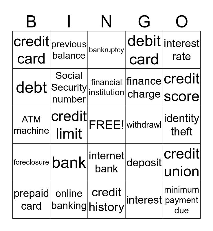 Debit and Credit Bingo Card