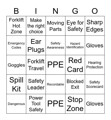 Safety Bingo