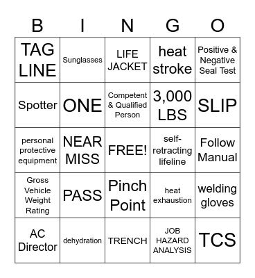 CONSTRUCTION SAFETY BINGO