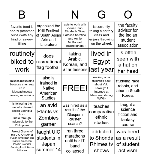 ASAM FACULTY! Bingo Card
