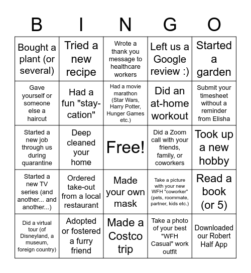 Quarantine Bingo Card
