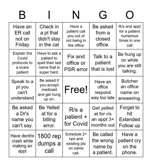 Bizaro Bingo..... Bingo Card