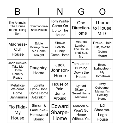Total-Quiz.com Presents Radio Bingo: Home Is Where The Bingo Is Bingo Card