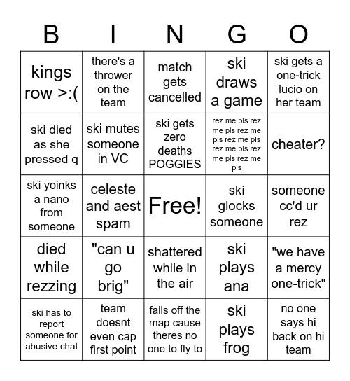 skiesti bingo Card