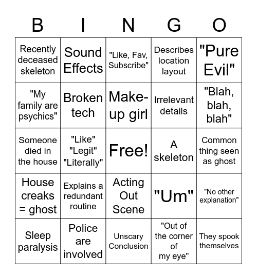 White Girl Ghost Story Bingo Card