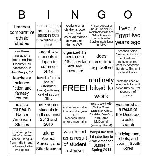 ASAM Faculty and Staff!  Bingo Card