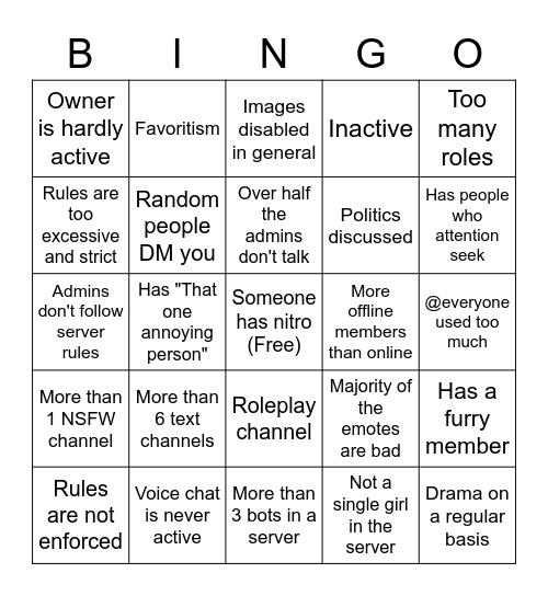 Bad Discord Server Bingo Card