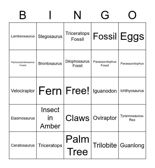 Dinosaur Bingo Card