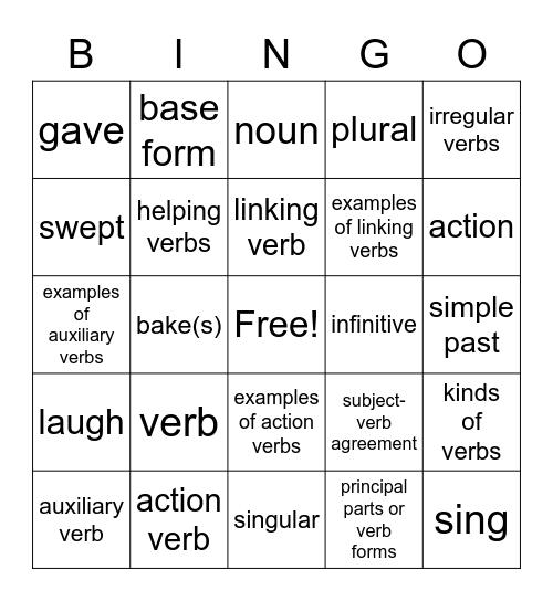 Verb Review Bingo Card