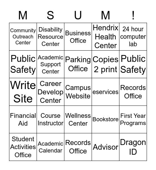 FYE 101 Campus Resources Bingo Card