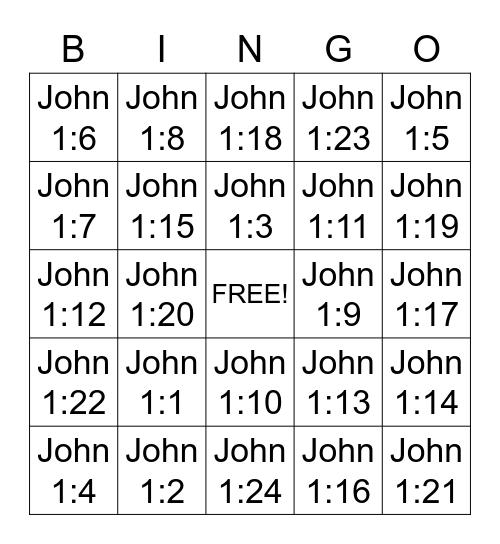 Bible Bingo Card