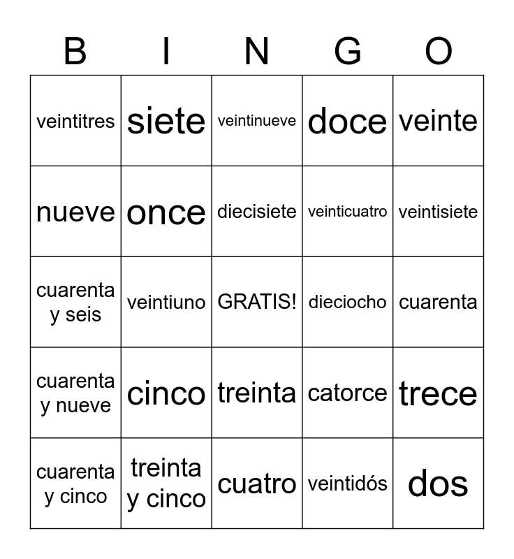 Spanish Numbers Bingo Card