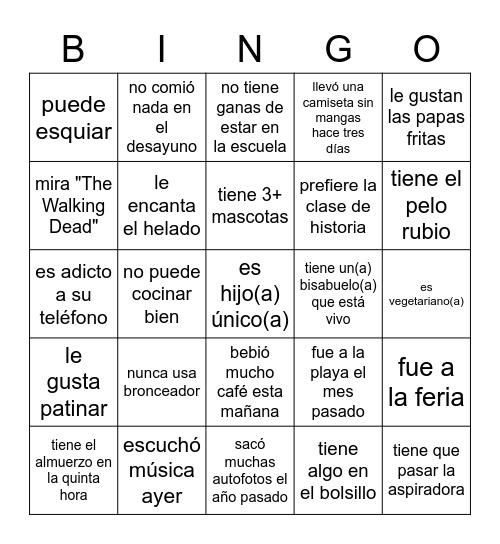 Busco a alguien que... Bingo Card