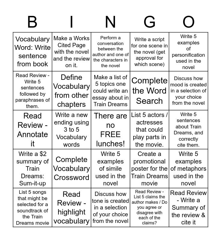 Train Dreams Activity Bingo Card