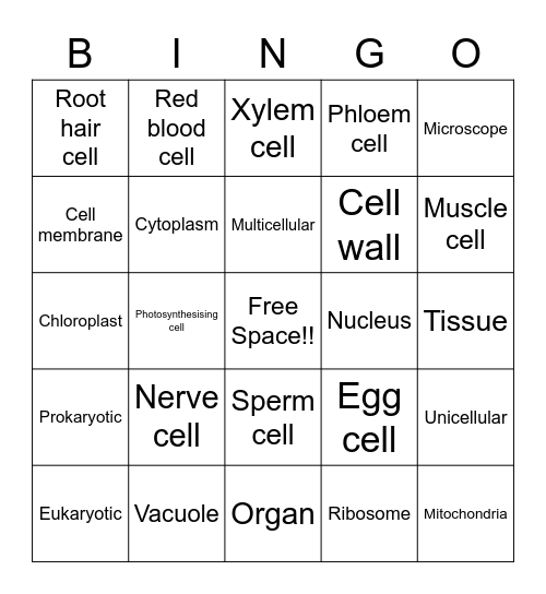 Miss Webb's Specialised Cells Bingo Card