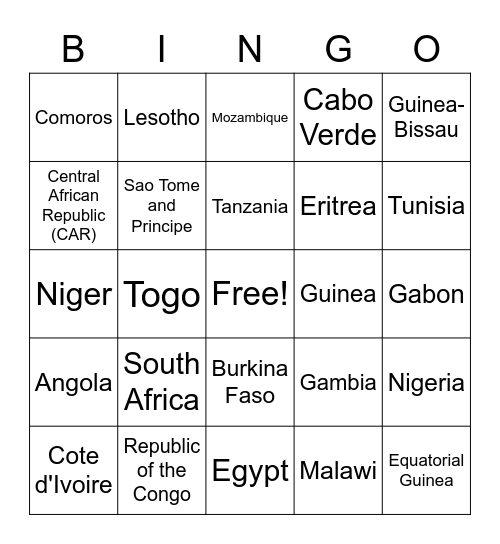 African Countries Bingo Card