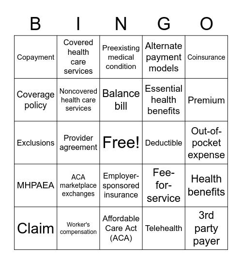 OT 540 Bingo Card