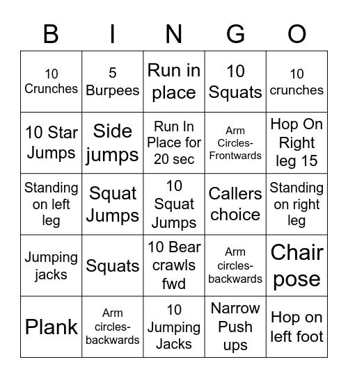 FITNESS WARM UP Bingo Card