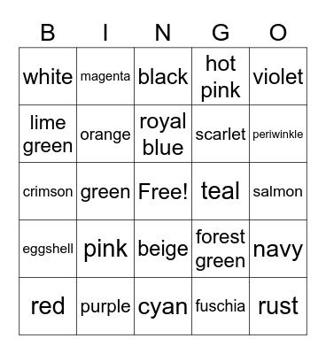Colors Bingo Card