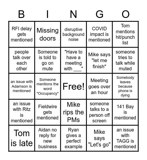 81 Bay Team Meeting Bingo Card