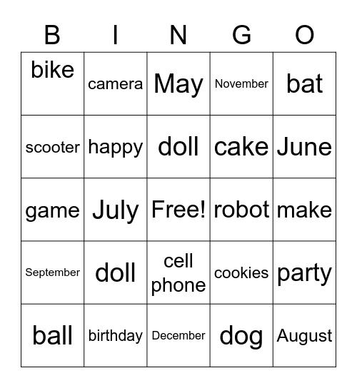 My Birthday Bingo Card
