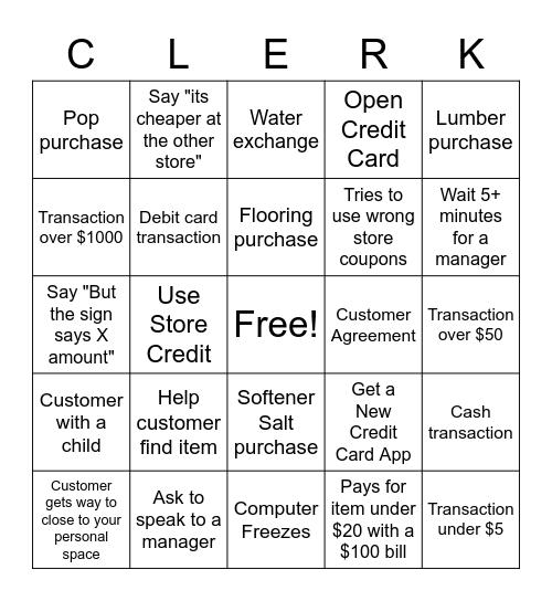 Crazy Clerks Ceno Bingo Card