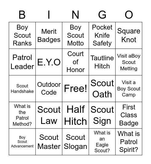Scouting Adventure Bingo Card