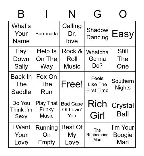 70s Hits Bingo Card