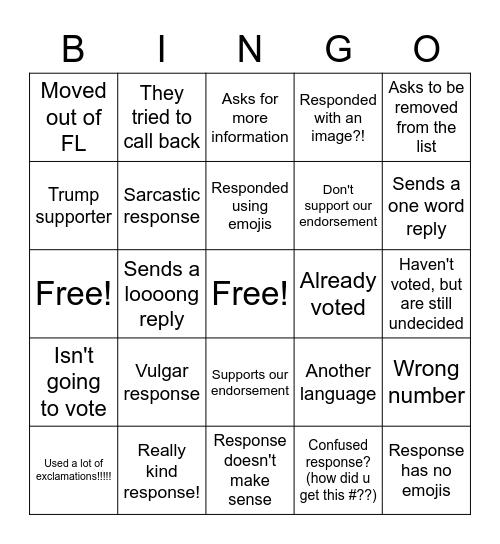 Text Bank Bingo Card