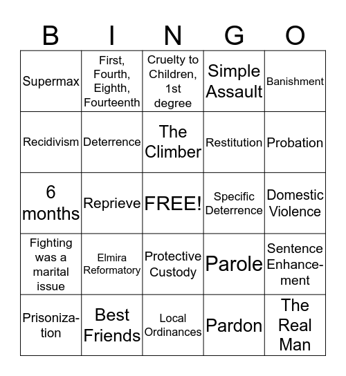 Corrections Final Exam Review Bingo Card