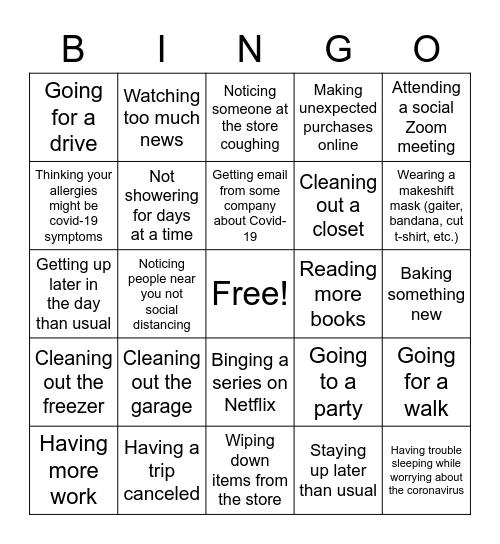 CORONAVIRUS Bingo Card