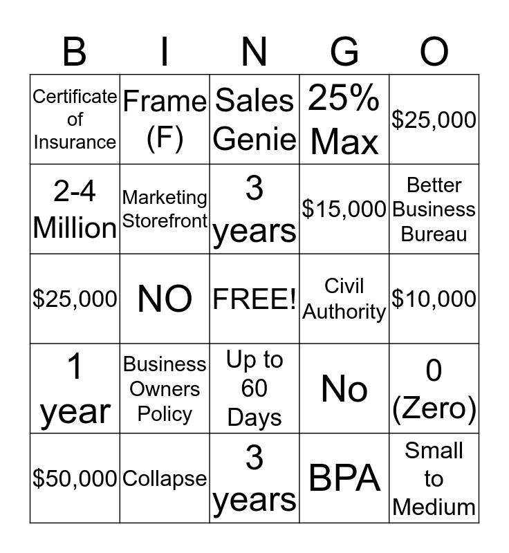 Commercial BINGO Card